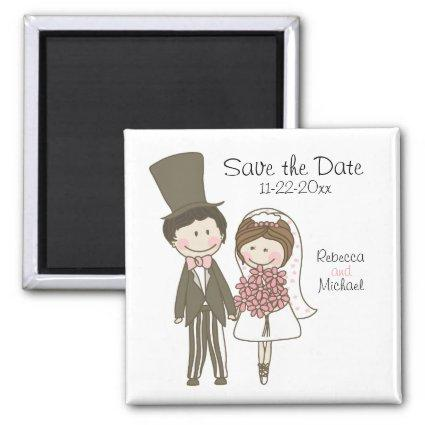 Bride and Groom Cute Cartoon Save the Date Wedding Magnet