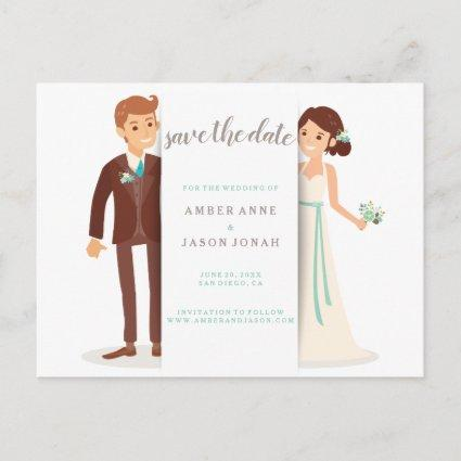 Bride and Groom illustration Save the Date Announcement