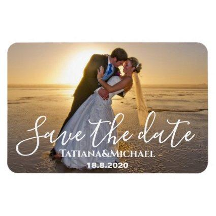 Bride and groom in the beach,save the date, custom magnet