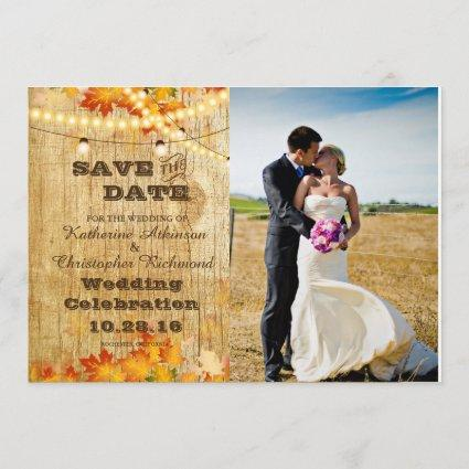 Bride and groom on a field/fall theme save the date