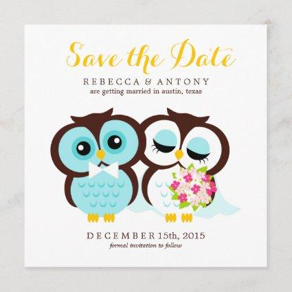 Bride and Groom Owls Wedding Save the Date