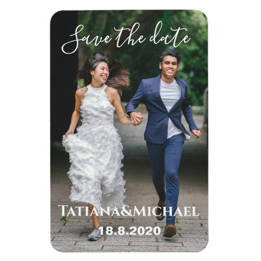 Bride and groon running, save the date, custom magnet