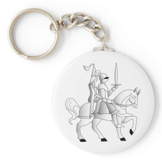 Bride with Knight in Shining Armor Basic Round Button Keychain