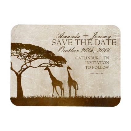 Brown and Ivory African Giraffe Save The Date Magnet