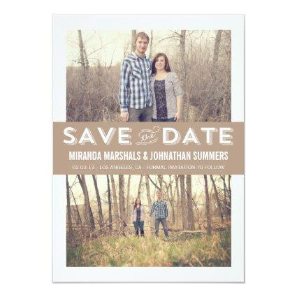 Brown Double Photo Save The Date Announcements