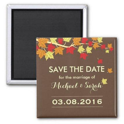 Brown Save The Date Maple Leaf Fall Wedding Magnets