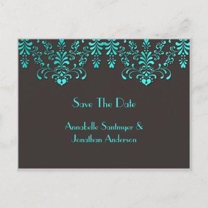 Brown With Teal Floral Swirls Save The Date Announcement