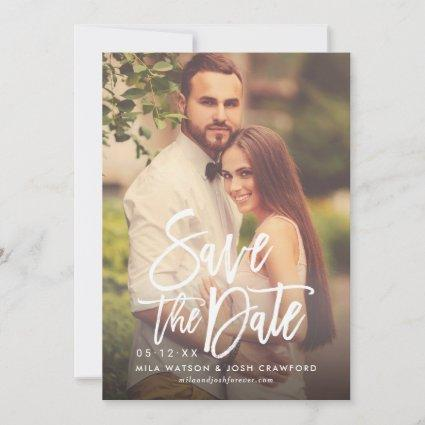 Brush Lettered Script | Blush Pink Wedding Photo Save The Date