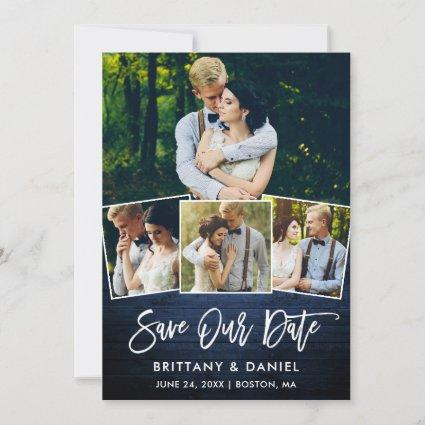 Brush Script Blue Wood 4 Photo Save Our Date Card