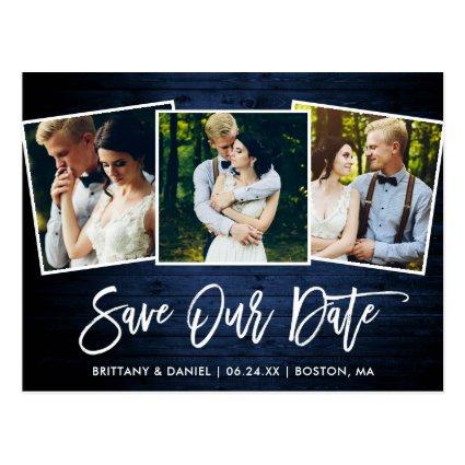 Brush Script Blue Wood Save Our Date 3 Photo