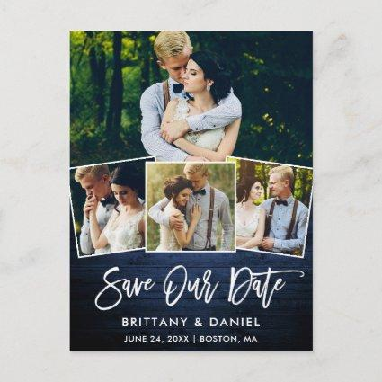 Brush Script Blue Wood Save Our Date 4 Photo