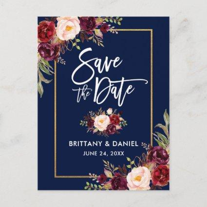 Brush Script Burgundy Floral Save the Date Announcement
