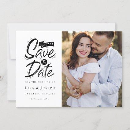 Brush Script Chalkboard  Photo Save The Date