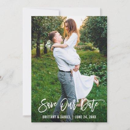Brush Script Couple Photo Save Our Date Card
