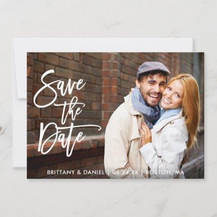 Brush Script Couple Photo Save The Date W Card