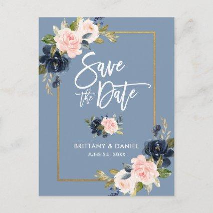 Brush Script Dusty Blue Pink Floral Save the Date Announcement
