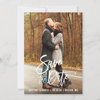 Brush Script Engagement Save The Date Photo Card