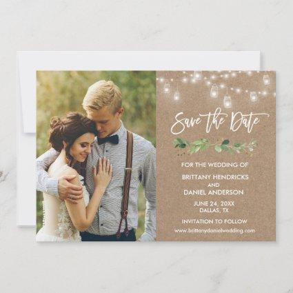 Brush Script Eucalyptus Jar Lights Kraft Photo Save The Date