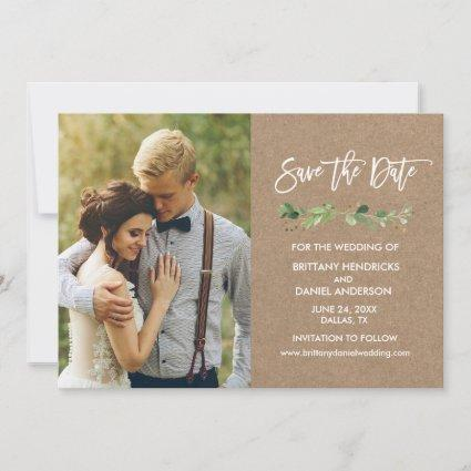 Brush Script Eucalyptus Kraft Photo Save The Date
