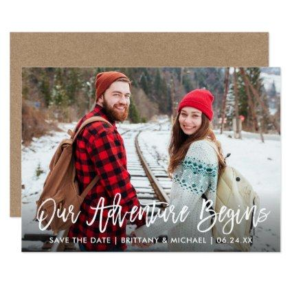 Brush Script Kraft Save The Date Adventure Card