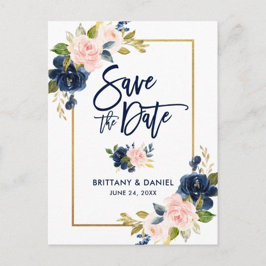 Brush Script Pink Blue Floral Gold Save the Date Announcement
