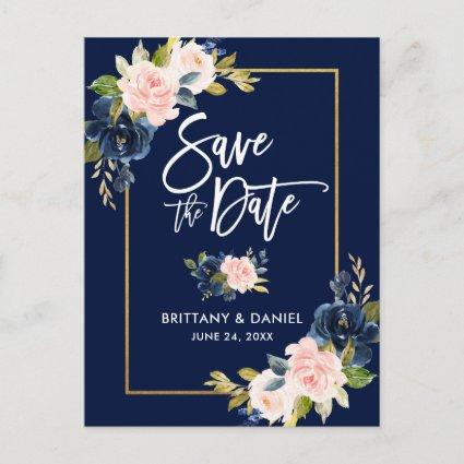 Brush Script Pink Blue Floral Save the Date Announcement