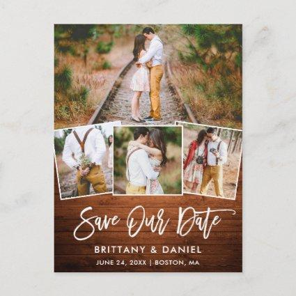 Brush Script Rustic Wood Save Our Date 4 Photo