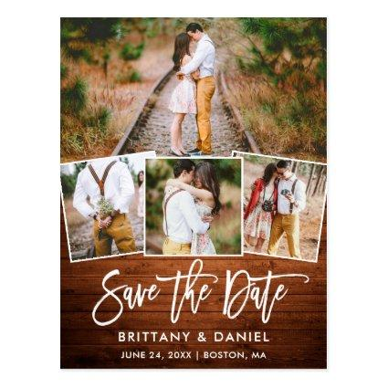 Brush Script Rustic Wood Save The Date 4 Photo