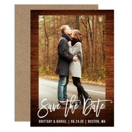 Brush Script Rustic Wood Save The Date Kraft Card