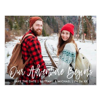 Brush Script Save The Date Adventure Couple Photo