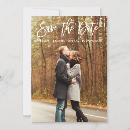 Brush Script Save The Date Couple Photo Card