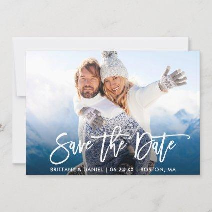 Brush Script Save The Date Couple Photo W Card