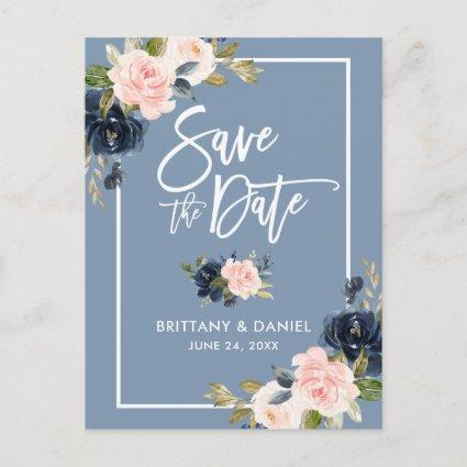 Brush Script Save the Date Dusty Blue Pink Floral Announcement