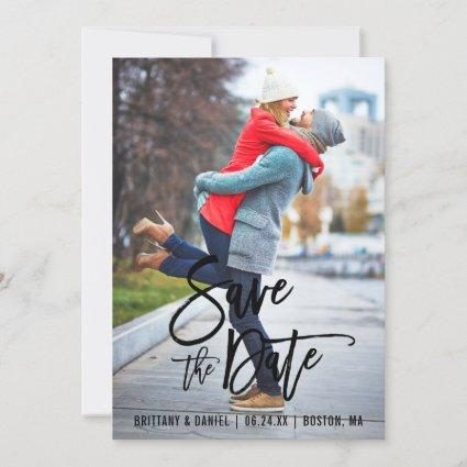Brush Script Save The Date Photo Engagement Cards