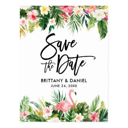 Brush Script  Save the Date Tropical Flamingo
