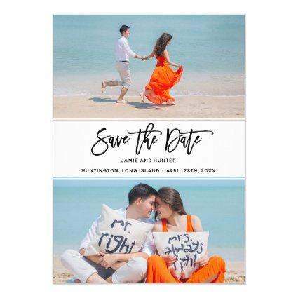 Brush Script Two Photo Save the Date Card
