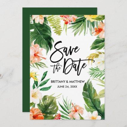 Brush Script Watercolor Tropical Coral Floral Save The Date