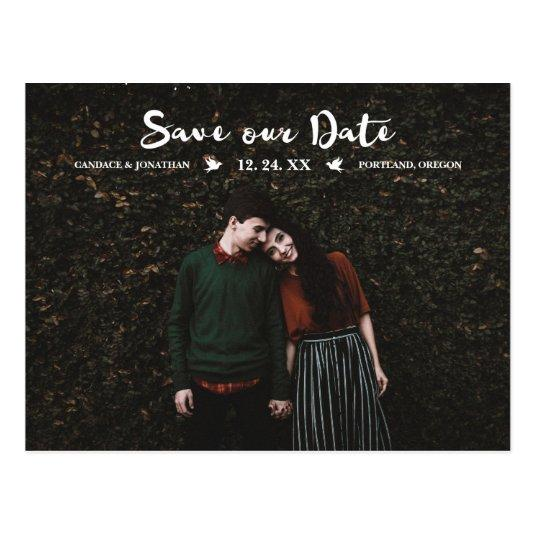 Brush Script with Love Birds Save Our Date Photo