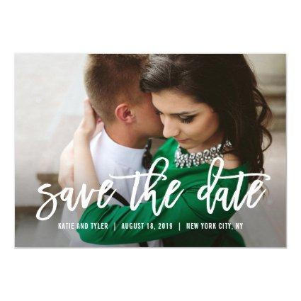 Brushed Calligraphy Wedding Save The Date Card