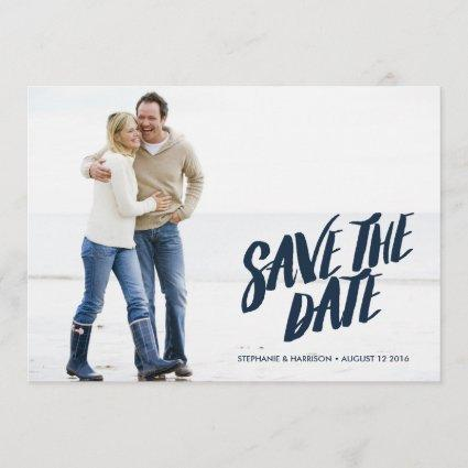 Brushed Lettering Save the Date // Navy