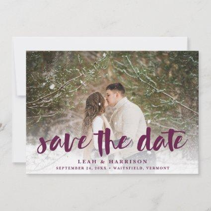 Brushed Overlay with Floral Backer | Photo Save The Date