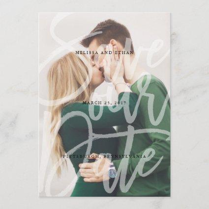 Brushed Script Overlay Save the Date photo card