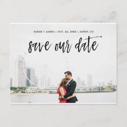 Brushed Script Save the Date Announcement