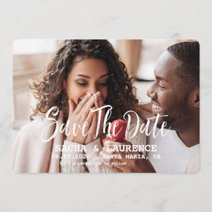 Brushed Script Save The Date Wedding Photo
