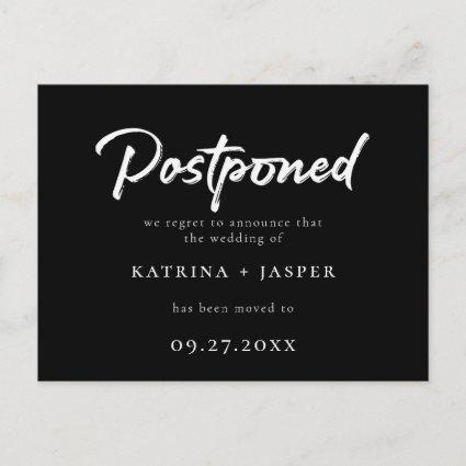 Brushed White Script Postponed Wedding Announcement