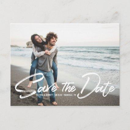 Brushed White Script | Save the Date Post Card