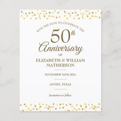 Budget 50th Anniversary Gold Hearts Save the Date