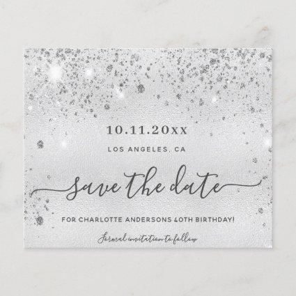 Budget birthday silver glitter metal save the date