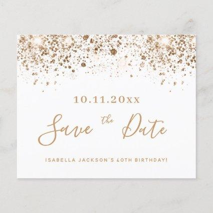 Budget birthday white gold glitter save the date