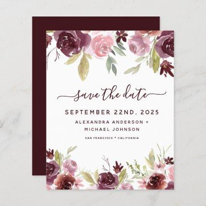 Budget Burgundy Flowers Floral Save the Date